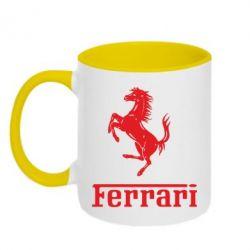Кружка двухцветная логотип Ferrari - FatLine