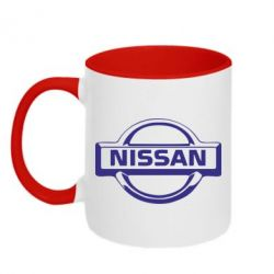 Кружка двухцветная логотип Nissan - FatLine