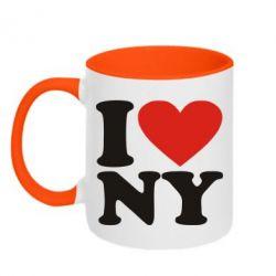 Кружка двухцветная Люблю Нью Йорк - FatLine