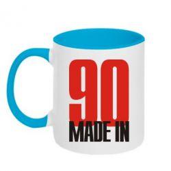 Кружка двухцветная Made in 90 - FatLine