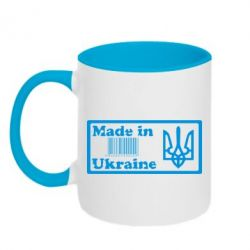 Кружка двухцветная Made in Ukraine штрих-код - FatLine
