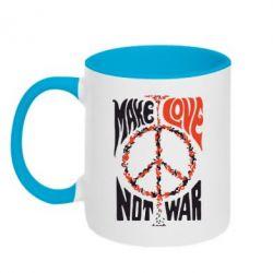 Кружка двухцветная Make love, not war - FatLine