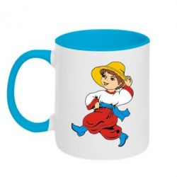 Кружка двухцветная Маленький українець - FatLine