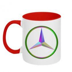 Кружка двухцветная Mercedes Logo Art - FatLine