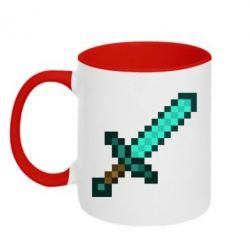 Кружка двухцветная Minecraft меч - FatLine