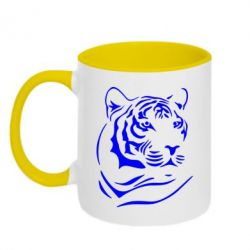 Кружка двухцветная Морда тигра - FatLine