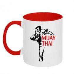 Кружка двухцветная Muay Thai kick - FatLine
