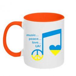 Кружка двухцветная Music, peace, love UA - FatLine