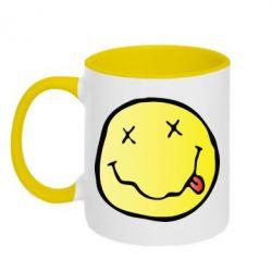 Кружка двухцветная Nirvana Logo 3D - FatLine