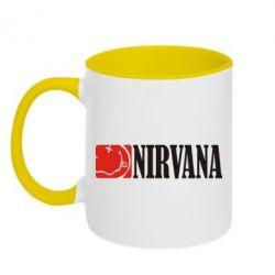 Кружка двухцветная Nirvana смайл - FatLine