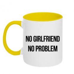 Кружка двухцветная No girlfriend. No problem - FatLine