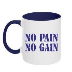 Кружка двухцветная No pain no gain logo - FatLine