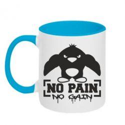 Кружка двухцветная No pain no gain пингвин - FatLine