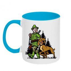 Кружка двухцветная Охотник с собакой - FatLine