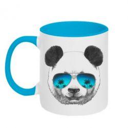 Кружка двухцветная Панда в очках - FatLine