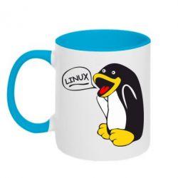 Кружка двухцветная Пингвин Линукс - FatLine
