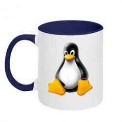 Кружка двухцветная Пингвин Linux - FatLine