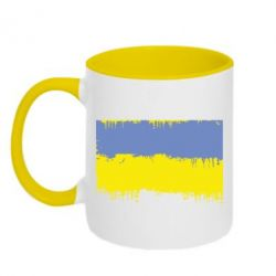 Кружка двухцветная Потертый флаг Украины - FatLine