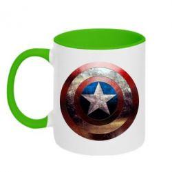 Кружка двухцветная Потрескавшийся щит Капитана Америка - FatLine