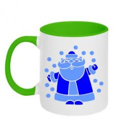 Кружка двухцветная Прикольный дед мороз - FatLine