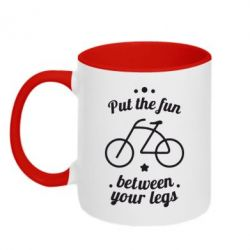 Кружка двухцветная Put the fun between your legs - FatLine