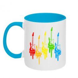 Кружка двухцветная Разноцветные гитары - FatLine