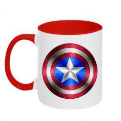 Кружка двухцветная Щит Капитана Америка - FatLine