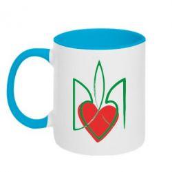 Кружка двухцветная Серце з гербом - FatLine
