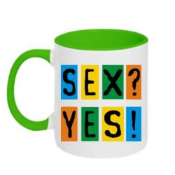 Кружка двухцветная Sex?Yes! - FatLine