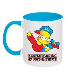 Кружка двухцветная Skateboarding is not a crime - FatLine