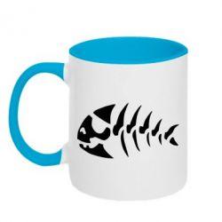 Кружка двухцветная скелет рыбки - FatLine