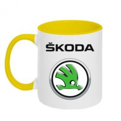 Кружка двухцветная Skoda Logo 3D - FatLine
