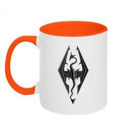 Кружка двухцветная Skyrim Logo 3D - FatLine