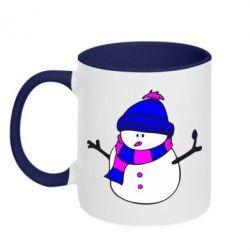 Кружка двухцветная Снеговик - FatLine