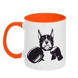 Кружка двухцветная Собака в боксерских перчатках - FatLine