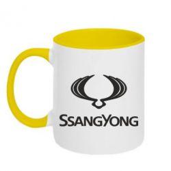 Кружка двухцветная SsangYong Logo - FatLine