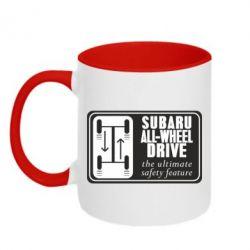 Кружка двухцветная Subaru All-Wheel - FatLine