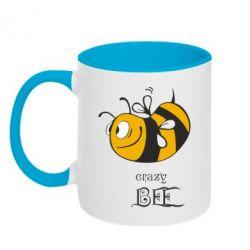 Кружка двухцветная Сумасшедшая пчелка - FatLine