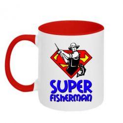 Кружка двухцветная Super FisherMan - FatLine