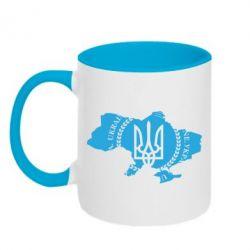Кружка двухцветная Ukrainian Map - FatLine