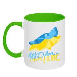 Кружка двухцветная Ukrainian Wolf - FatLine