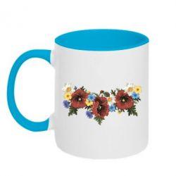 Кружка двухцветная Украинские цветы - FatLine