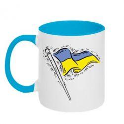 Кружка двухцветная Украинский флаг - FatLine