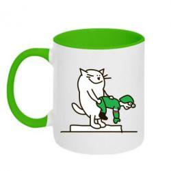 Кружка двухцветная Вежливый кот - FatLine