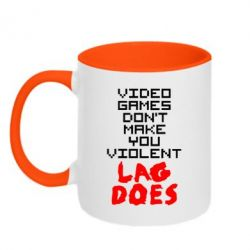 Кружка двухцветная Video games don't make you violent - FatLine