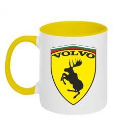 Кружка двухцветная Volvo Logo - FatLine