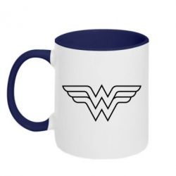 Кружка двухцветная Wonder Woman Logo - FatLine