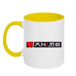 Кружка двухцветная Я люблю Аниме - FatLine