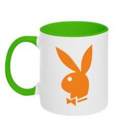 Кружка двухцветная Заяц Playboy - FatLine