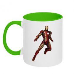 Кружка двухцветная Железный Человек в воздухе - FatLine